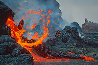 Lava burst forming an abstract colorful composition