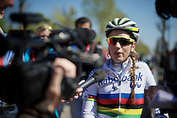 Pauline Ferrand-Prevot (FRA/Rabobank-Liv) who finished 8th, busy with post-race interviews<br /> <br /> Flèche Wallonne Féminine 2015