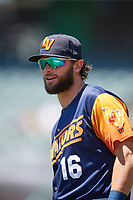 Cody Thomas (16) of the Las Vegas Aviators before the game against the Salt Lake Bees at Smith's Ballpark on June 27, 2021 in Salt Lake City, Utah. The Aviators defeated the Bees 5-3. (Stephen Smith/Four Seam Images)