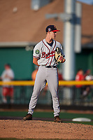 Danville Braves relief pitcher Zach Daniels (48) looks in for the sign during a game against the Johnson City Cardinals on July 29, 2018 at TVA Credit Union Ballpark in Johnson City, Tennessee.  Johnson City defeated Danville 8-1.  (Mike Janes/Four Seam Images)