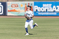 Peoria Javelinas right fielder Ian Miller (9), of the Seattle Mariners organization, prepares to catch a fly ball during an Arizona Fall League game against the Glendale Desert Dogs at Peoria Sports Complex on October 22, 2018 in Peoria, Arizona. Glendale defeated Peoria 6-2. (Zachary Lucy/Four Seam Images)