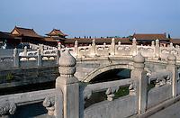 Goldwasserfluss + Mittagstor (Wu Men), Kaiserpalast (Gugong, Verbotene Stadt), Peking,  China, Unesco-Weltkulturerbe
