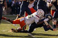 Miami linebacker Shaquille Quarterman sacks Pitt quarterback Kenny Pickett. The Pitt Panthers upset the undefeated Miami Hurricanes 24-14 on November 24, 2017 at Heinz Field, Pittsburgh, Pennsylvania.