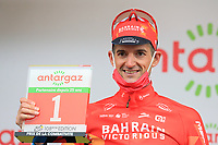 3rd July 2021; Oyonnax, Auvergne-Rhône-Alpes, France; TOUR DE FRANCE 2021 UCI Cycling World Tour Stage 8  from Oyonnax to Le Grand Bornand; <br /> Dylan Teuns Belgium (TBY) on the podium