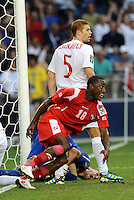 Luis Tejada Panama turns away after Panama equalize...Canada and Panama played to a 1-1 tie in Gold Cup play at LIVESTRONG Sporting Park. Kansas City Kansas.