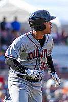 Quad Cities River Bandits infielder Randy Cesar (30) watches a ball to the outfield during a Midwest League game against the Wisconsin Timber Rattlers on April 8, 2017 at Fox Cities Stadium in Appleton, Wisconsin.  Wisconsin defeated Quad Cities 3-2. (Brad Krause/Four Seam Images)