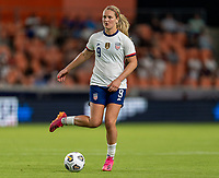 HOUSTON, TX - JUNE 10: Lindsey Horan #9 of the USWNT passes the ball during a game between Portugal and USWNT at BBVA Stadium on June 10, 2021 in Houston, Texas.