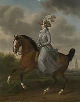 Frederika Sophia Wilhelmina of Prussia (1751-1820), Wife of Prince William V, horseback - by Tethart Philip Christian Haag, 1789