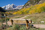 Snow on the Maroon Bells in autumn, west of Aspen, Colorado. John offers autumn photo tours throughout Colorado.