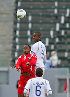 CARSON, CA - March 23, 2012: Victor Barrera (9) of Panama and Hilder Colon (4) of Honduras during the Honduras vs Panama match at the Home Depot Center in Carson, California. Final score Honduras 3, Panama 1.
