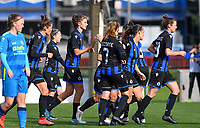 Brugge's players pictured celebrating after scoring a goal during a female soccer game between the women teams of Club Brugge YLA Dames and Union Saint-Ghislain Tertre-Hautrage Ladies on the 1/16 th qualifying round for the Belgian Womens Cup 2020  2021 , on saturday 26 th of September 2020  in Brugge , Belgium . PHOTO SPORTPIX.BE | SPP | DAVID CATRY