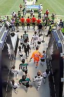 Sporting Clube de Portugal and Tottenham Hotspur F. C. enter the field. Tottenham Hotspur F. C. and Sporting Clube de Portugal played to a 2-2 tie during a Barclays New York Challenge match at Red Bull Arena in Harrison, NJ, on July 25, 2010.