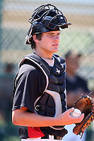 Pittsburgh Pirates minor league catcher Dylan Child vs. the Toronto Blue Jays during an Instructional League game at Pirate City in Bradenton, Florida;  October 11, 2010.  Photo By Mike Janes/Four Seam Images