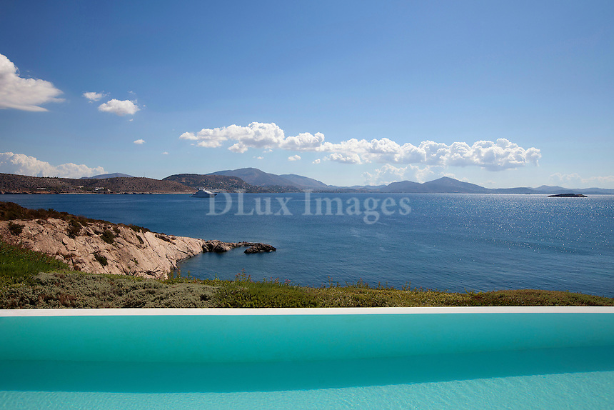 luxury pool area with sea view
