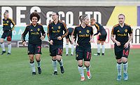 20180228 - LARNACA , CYPRUS :  Belgian Kassandra Missipo , Jassina Blom , Jana Coryn and Davinia Vanmechelen pictured during a women's soccer game between Spain and the Belgian Red Flames , on friday 2 March 2018 at the AEK Arena in Larnaca , Cyprus . This is the second  game in group B for  Belgium during the Cyprus Womens Cup , a prestigious women soccer tournament as a preparation on the World Cup 2019 qualification duels. PHOTO SPORTPIX.BE | DAVID CATRY
