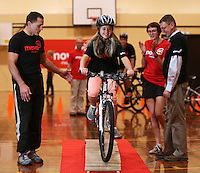 From left, Dallas Seymour, Tamara Bedford and Richard Edmundson, Principal of Hornby High School at the Move 60 event run by Coca Cola at Pioneer Stadium Gymnasium, Christchurch, New Zealand on Saturday, 12 April 2014. Photo: Joseph Johnson.