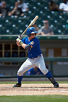 Nick Solak (3) of the Durham Bulls at bat against the Charlotte Knights at BB&T BallPark on May 27, 2019 in Charlotte, North Carolina. The Bulls defeated the Knights 10-0. (Brian Westerholt/Four Seam Images)
