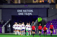 ORLANDO, FL - JANUARY 18: USWNT walks out before a game between Colombia and USWNT at Exploria Stadium on January 18, 2021 in Orlando, Florida.