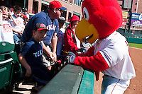 Redhawk mascott April 14th, 2010; MiLB action, Round Rock Express vs Oklahoma City Redhawks at AT&T Bricktown Ballpark in Oklahoma City,  Oklahoma