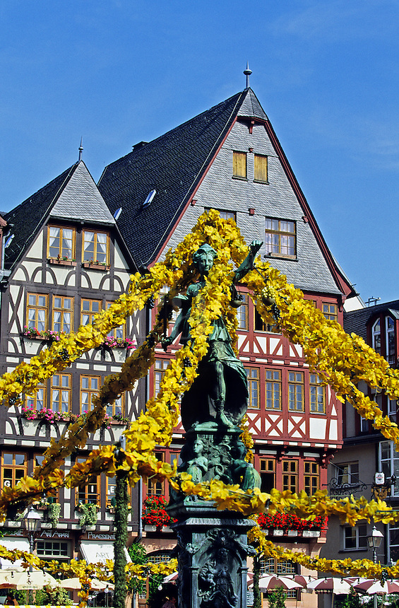 Germany. Frankfurt. Decorated statue and fountain in the Ro?merberg, Frankfurt's reconstructed old town. Frankfurt-am-Main..