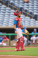 Clearwater Threshers catcher Arturo De Freitas (12) during a game against the Fort Myers Mighty Mussels on July 29, 2021 at BayCare Ballpark in Clearwater, Florida.  (Mike Janes/Four Seam Images)