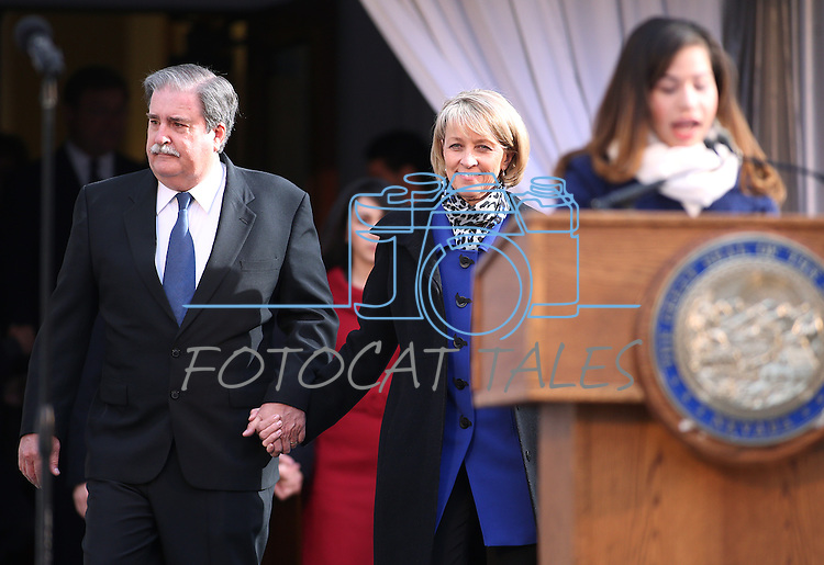 Secretary of State Barbara Cegavske and her husband Tim enter the dais for the inaugural ceremony at the Capitol, in Carson City, Nev., on Monday, Jan. 5, 2015.<br /> Photo by Cathleen Allison