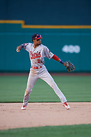 Peoria Chiefs shortstop Delvin Perez (32) throws to first base during a Midwest League game against the Fort Wayne TinCaps on July 17, 2019 at Parkview Field in Fort Wayne, Indiana.  Fort Wayne defeated Peoria 6-2.  (Mike Janes/Four Seam Images)
