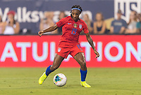 CHARLOTTE, NC - OCTOBER 3: Crystal Dunn #19 of the United States dribbles during a game between Korea Republic and USWNT at Bank of America Stadium on October 3, 2019 in Charlotte, North Carolina.
