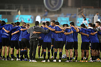 SAN JOSE, CA - SEPTEMBER 13: San Jose Earthquakes huddle before a game between Los Angeles Galaxy and San Jose Earthquakes at Earthquakes Stadium on September 13, 2020 in San Jose, California.