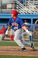 Auburn Doubledays outfielder Brandon Miller #25 during a game against the Batavia Muckdogs at Dwyer Stadium on June 18, 2012 in Batavia, New York.  Auburn defeated Batavia 6-5.  (Mike Janes/Four Seam Images)
