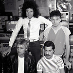 "Roger Taylor, Brian May,  John Deacon and Freddie Mercury of Queen attend Queen Press Conference for ""Hot Space"" at Crazy Eddie's on July 27, 1982  in New York City."