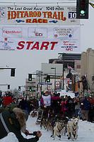 2010 Iditarod Ceremonial Start in Anchorage Alaska musher # 5 ZOYA DeNURE with Iditarider JOAN VANMETER