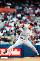 Andy Pettitte of the New York Yankees at Anaheim Stadium in Anaheim,California during the 1996 season. (Larry Goren/Four Seam Images)