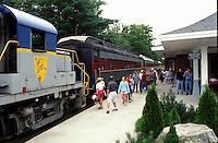 train, Riverside, The Adirondacks, New York, The Upper Hudson River Railroad excursion train.