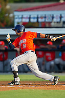 Luis Reynoso (2) of the Greeneville Astros follows through on his swing against the Burlington Royals at Burlington Athletic Park on June 30, 2014 in Burlington, North Carolina.  The Royals defeated the Astros 9-8. (Brian Westerholt/Four Seam Images)
