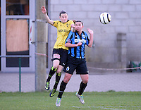 20140502 - VARSENARE , BELGIUM : Lierse's Elke Van Gorp pictured with Brugge's Jody Vangheluwe (r) during the soccer match between the women teams of Club Brugge Vrouwen  and WD Lierse SK  , on the 26th matchday of the BeNeleague competition on Friday 2 May 2014 in Varsenare .  PHOTO DAVID CATRY