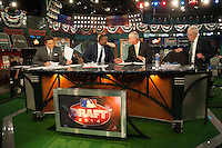 MLB Network staff Greg Amsinger, Harold Reynolds, Jim Hart, and Peter Gammons during the MLB Draft on Thursday June 05,2014 at Studio 42 in Secaucus, NJ.   (Tomasso DeRosa/ Four Seam Images)