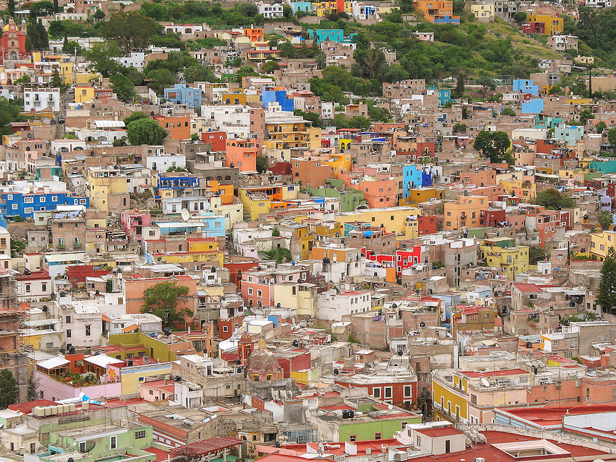 Bird eye's view of City of Guanajuato, Mexico.