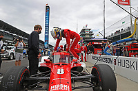 28th May 2021; Indianapolis, Indiana, USA;  NTT Indy Car Series car driver Marcus Ericsson (8) climbs into his car during Miller Lite Carb Day as teams prepare for the 105th running of the Indianapolis 500