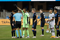 SAN JOSE, CA - SEPTEMBER 19: San Jose Earthquakes goalkeeper Daniel Vega #17 talks with referee Rosendo Mendoza during a game between Portland Timbers and San Jose Earthquakes at Earthquakes Stadium on September 19, 2020 in San Jose, California.