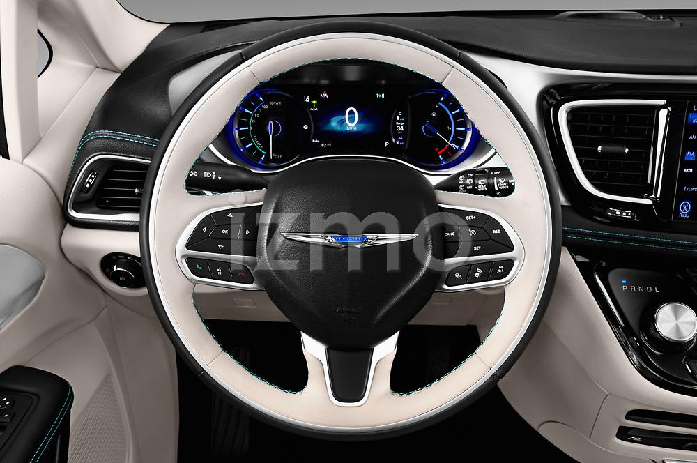 Car pictures of steering wheel view of a 2017 Chrysler Pacifica-Hybrid Platinum 5 Door Minivan Steering Wheel