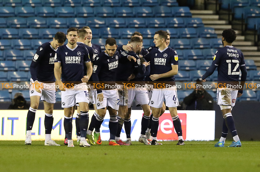 Millwall players celebrate their first goal during Millwall vs Nottingham Forest, Sky Bet EFL Championship Football at The Den on 19th December 2020