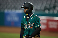 Liover Peguero (10) of the Greensboro Grasshoppers during the game against the Winston-Salem Dash at First National Bank Field on June 3, 2021 in Greensboro, North Carolina. (Brian Westerholt/Four Seam Images)
