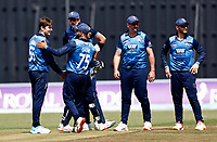 Marcus O'Riordan (L) of Kent is congratulated after taking the wicket of Graham Clark during Kent Spitfires vs Durham, Royal London One-Day Cup Cricket at The Spitfire Ground on 22nd July 2021