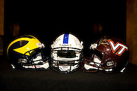 Virginia Tech helmet and Michigan helmet are pictured together during Head Coaches Press Conference at Marriott Hotel at the Convention Center on January 2nd, 2012.