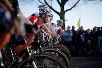 Lars Van der Haar (NLD/Giant-Shimano) tucked in his typical low position on the start grid<br /> <br /> Koppenbergcross 2014