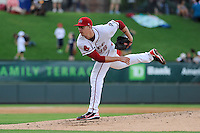 Starting pitcher Justin Haley (38) of the Greenville Drive in a game against the Savannah Sand Gnats on Saturday, July 6, 2013, at Fluor Field at the West End in Greenville, South Carolina. Haley worked five shutout innings, giving up just one hit, but Savannah won, 3-0. (Tom Priddy/Four Seam Images)
