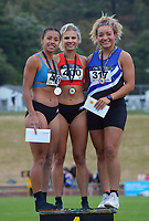 Women's 100m podium, from left: Briana Stephenson (2), Natasha Eady (1) and Genna Maples (3). 2021 Capital Classic athletics at Newtown Park in Wellington, New Zealand on Saturday, 20 February 2021. Photo: Dave Lintott / lintottphoto.co.nz