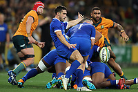 13th July 2021; AAMI Park, Melbourne, Victoria, Australia; International test rugby, Australia versus France; Baptiste Couilloud of France kicks for field position