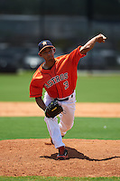 GCL Astros pitcher Luis Ramirez (3) delivers a pitch during a game against the GCL Braves on July 23, 2015 at the Osceola County Stadium Complex in Kissimmee, Florida.  GCL Braves defeated GCL Astros 4-2.  (Mike Janes/Four Seam Images)